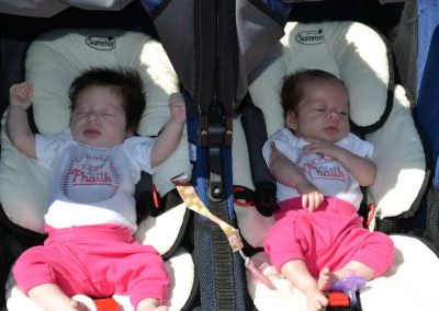 Ava and Sophia Martino, 5 weeks old, Keeping the Phaith at the Kevin Flach Scholarship Run