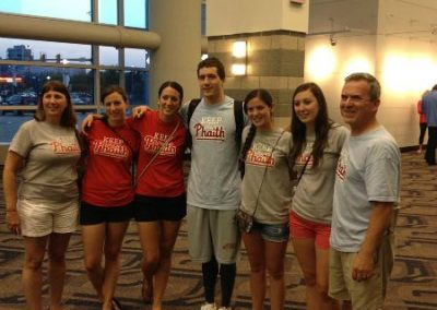 Kevin's Aunt, Uncle, and Cousins Keeping the Phaith at US Olympic Swim Trials in Omaha, NE