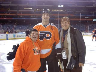 Kevin's Uncle Dave Campoli Keeping the Phaith with Eric Lindros and Ed Hospodar at the 2012 Winter Classic