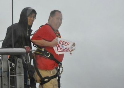 Tim Johnston Keeping the Phaith while bungee jumping from 700 feet in Hong Kong