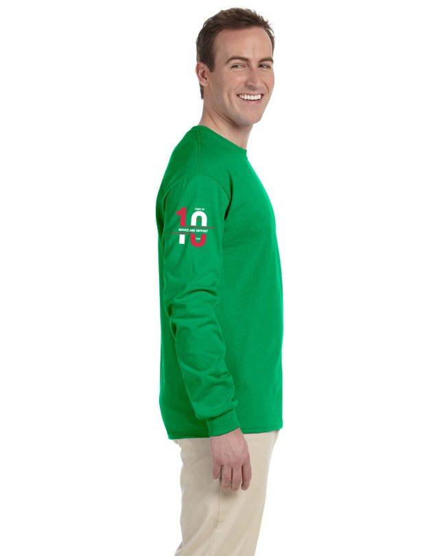 Adult Long Sleeve T-Shirt - Green - Side